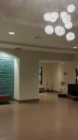SpringHill Suites Danbury: quick overview of the lobby area since my daughter loved the light and blue wall