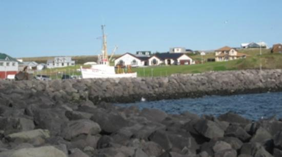 : View of Hotel Berg from Keflavik