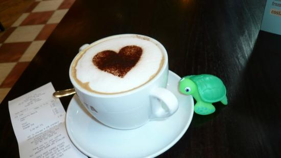 Premier Inn London King's Cross St Pancras: Torben the turtle with me in the coffee shop.