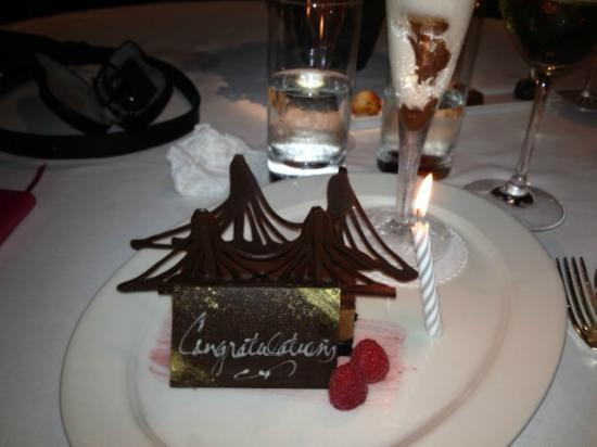 Brooklyn Bridge dessert with congrats card - Picture of ...