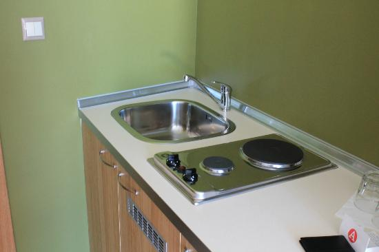 A for Athens: Sink and Burner, Fridge underneath as well