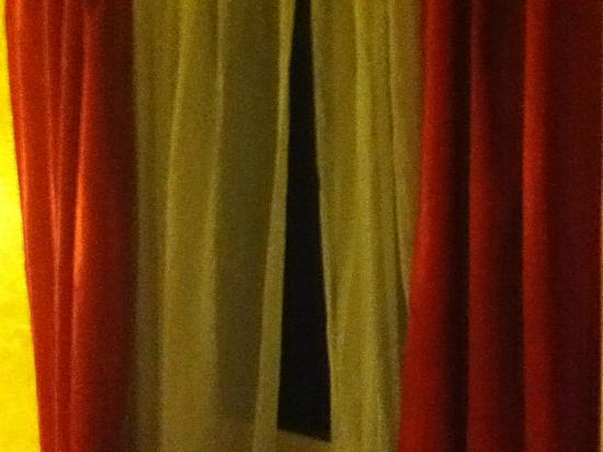 Springfield Hotel London: Stylish Net Curtains and flimsy red drapes -Classy!