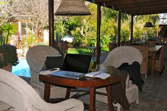 KhashaMongo Guesthouse: this is were you find me - reading my email and doing some work on the lovely veranda of KhashaM
