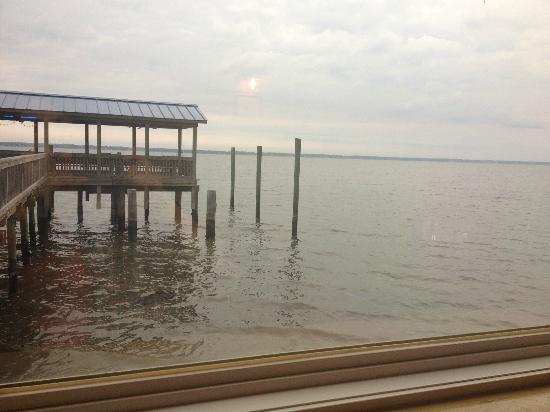 Salter Path, NC: Another view from main dining room, outdoor dock area shown.