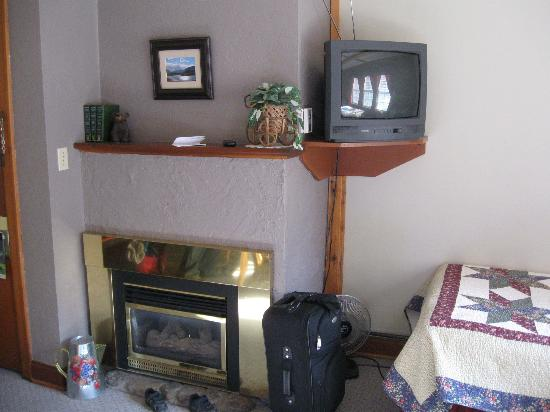 Crandell Mountain Lodge: Fireplace and TV