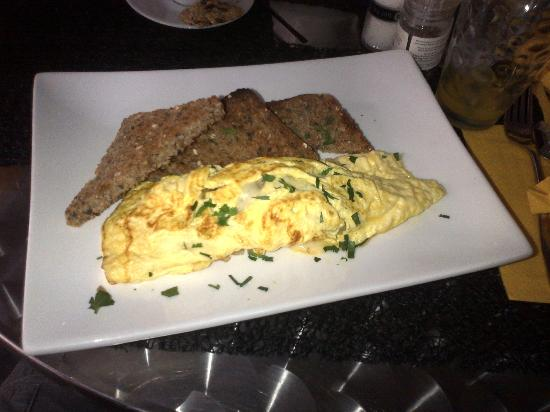 Cascades on the Promenade: Omlette with Emmental Cheese & Onions & Toast