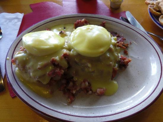 Eggs, bacon, cheese between two pancakes. Delicious!- Picture of Polly ...