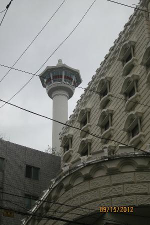 Busan Tower behind Elysee Motel
