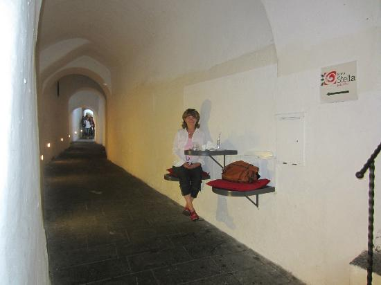 Dolceria dell'Antico Portico: Eating in tunnel chairs outside of Dolceria