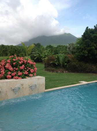 Four Seasons Resort Nevis, West Indies: Mt. Nevis from plunge pool.