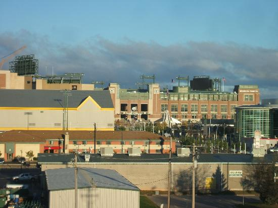Cambria Suites Green Bay: View from both bedrooms of the Packer Stadium