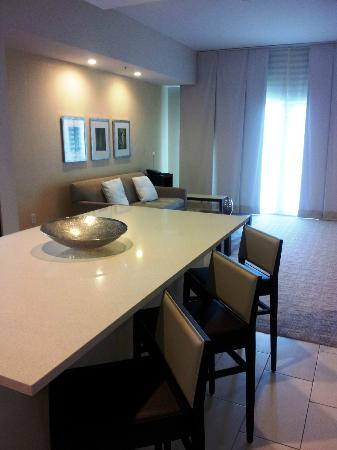 Hyatt Miami at The Blue: Looking from the kitchen into the living room area of the one bedroom King