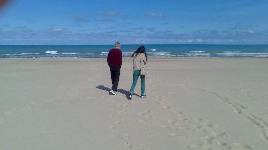 Chesterton, IN: Walking along an empty beach. On a clear day you can see Chicago.