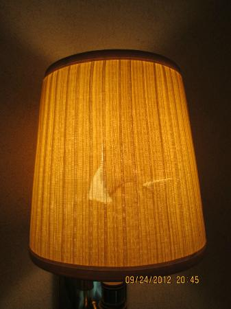 Rodeway Inn Skyland: Lamp shade on wall lamp next to bed