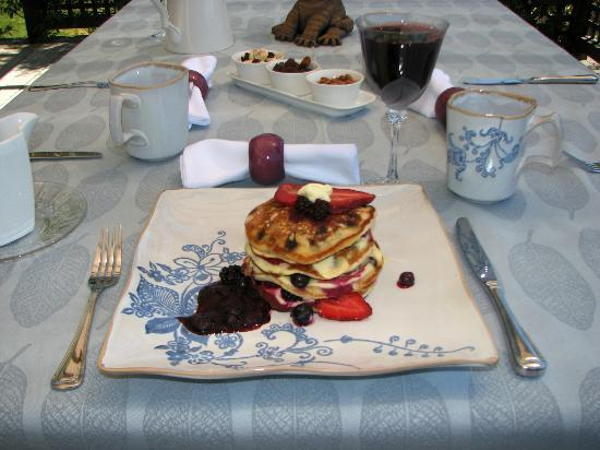 Cat's Pjamas Bed and Breakfast: Chocolate berry pancakes for breakfast