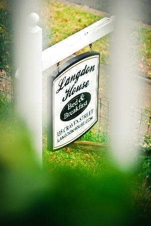 Langdon House Bed and Breakfast: Birds-eye view of the B&B's sign