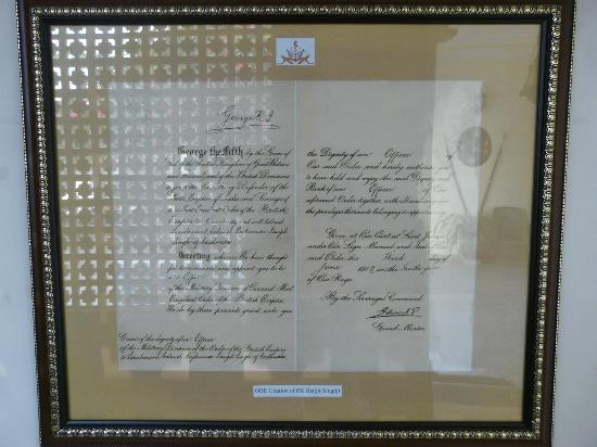 Sugan Niwas Palace: Citation of the OBE