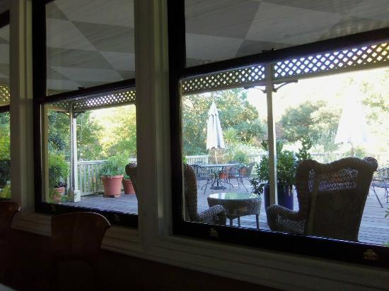 Gaige House, A Four Sisters Inn: back porch behind the dining area