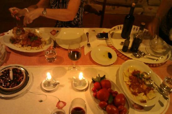 Villa Il Paradisino: my birthday dinner my sisters cooked for me from the vegetables on the villa property.
