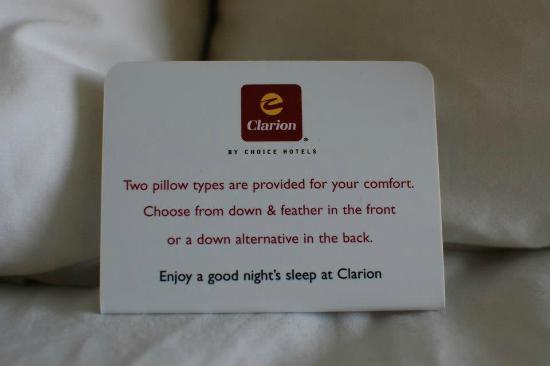Clarion Inn & Conference Center : Pillows