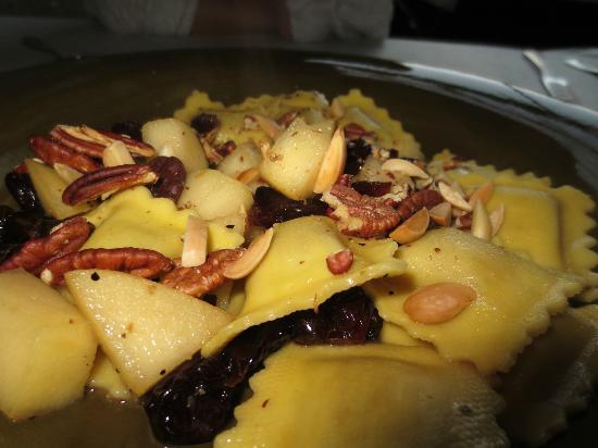 Rocheport, MO: Pumpkin ravioli with brown butter, cherries & almonds