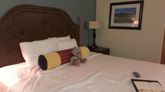 Rough Riders Hotel: King Bed with Teddy Roosevelt bear