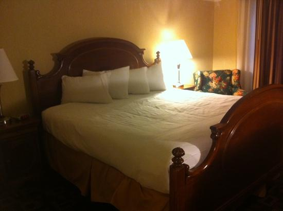 Cortina Inn and Resort : renovated king bedroom with arched doorway, granite bathroom and outdoor patio leading to backya 