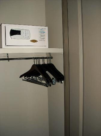 Seven Clans Hotel: closet with a door...safe hangers iron iron boarding