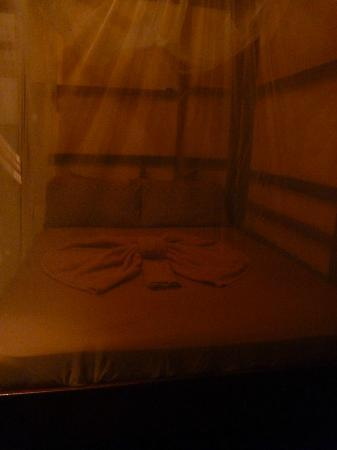 Coco Loco Lodge: Bed with mosquito nettng