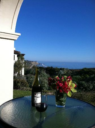 Bacara Resort & Spa: Terrace off our suite with welcome bottle of wine & flowers
