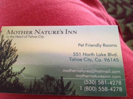 Mother Nature's Inn: for more details ..