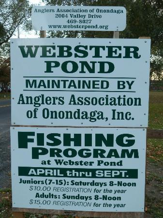 Webster Pond: sign at the pond by the road