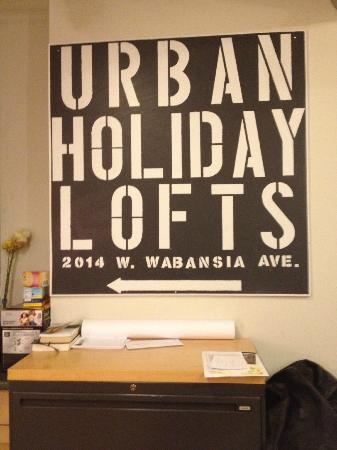 Urban Holiday Lofts: Board at the checking in/out counter