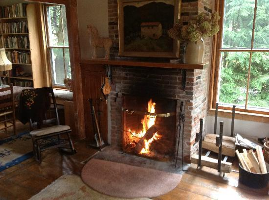 Fan House Bed and Breakfast: warm fire in the sitting rrom