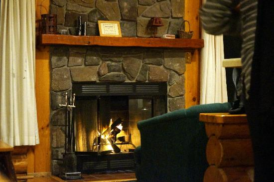 Bearskin Lodge: Cabin 5 hearth and fireplace