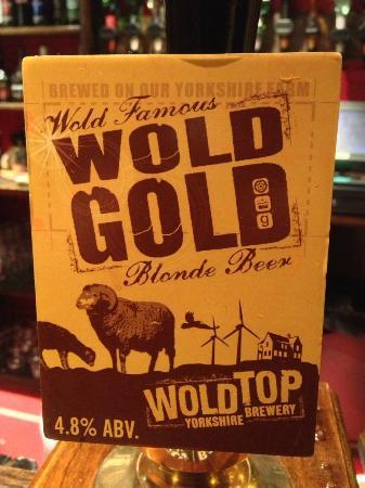 Appleton le Moors, UK: Wold Gold - fine real ale from Yorkshires' Wold Top Brewery.