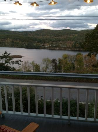 Halladay&#39;s Harvest Barn Inn: view of the Connecticut river from the front porch.