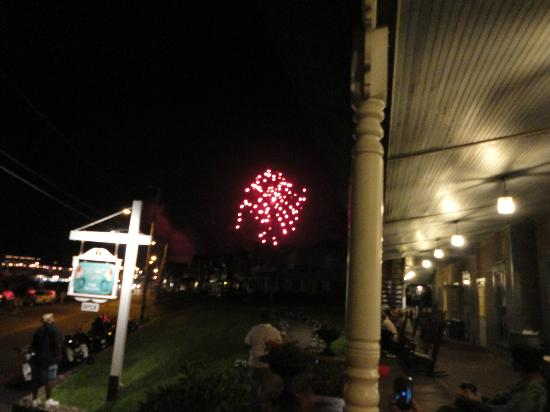 Wesley Hotel: A view of the fireworks show from the front porch