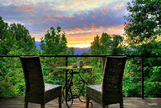 Birches Luxury Spa Chalets: Relax together upon your high,sheltered balcony