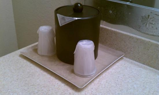 Santa Fe Sage Inn: Sanitary cups and ice bucket