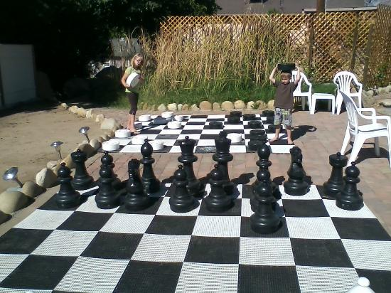 The Kern Lodge: The huge checker & chess sets.