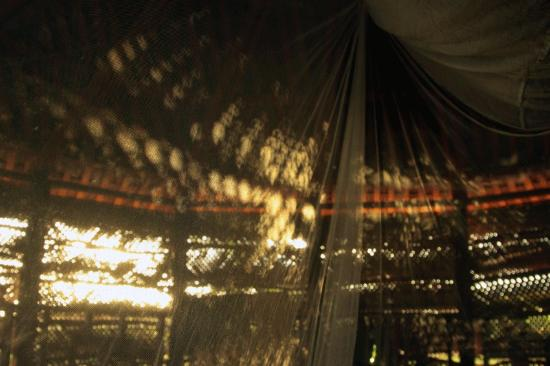 Bayview Resort: The morning sun shining into our Fale onto the moskito net