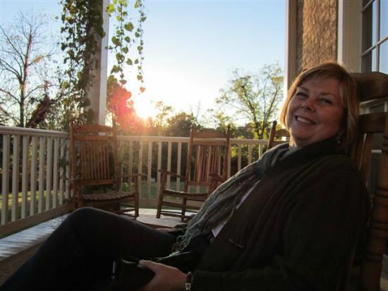 The Inn at Vaucluse Spring: sitting on the front porch at sunset