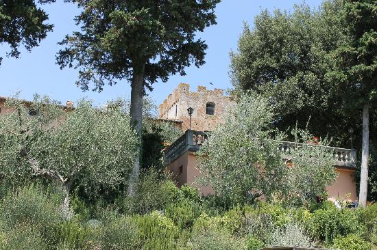 Villa il Pozzo: View up to balcony from pool