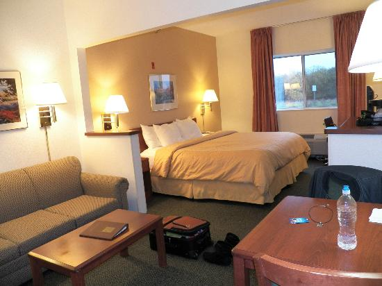 Comfort Suites Rochester: not a suite, just a room with sofa + table
