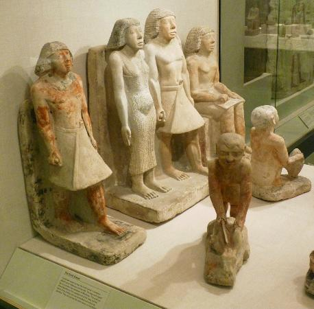Oriental Institute Museum: Old Kingdom Stone Funerary Depictions of the Dead and Family, Tomb of Nykawinpu, 2300 BC, Egypt