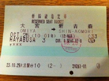 Shinkansen Reserved Seat Ticket by JR