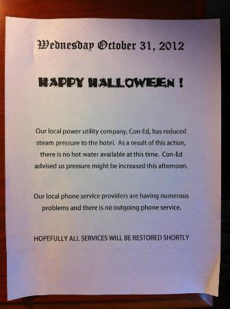 Holiday Inn Midtown / 57th St: Happy Halloween! Hope you enjoy your full-priced cold shower!