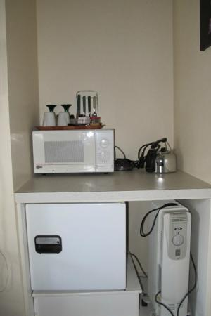 Dolphin Motel: Kitchen area - microwave, kettle, fridge.