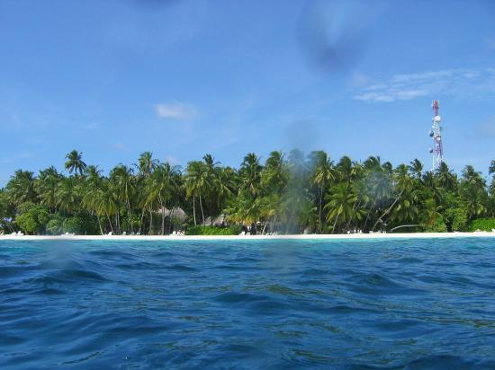 Fihalhohi Tourist Resort: View to the North beach from the sea